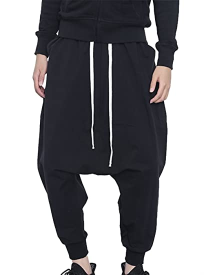 369634c5c7ee JINXUAN Men's Baggy Hip Hop Pants Drop Crotch Pants Jogging Harem Pants  Drawstring Black L