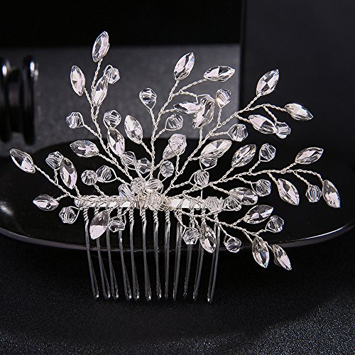 FXmimior Wedding Headpiece Crystal Rhinestone Hair Comb Hair Accessories for Bridal Bridesmaid Women (silver)