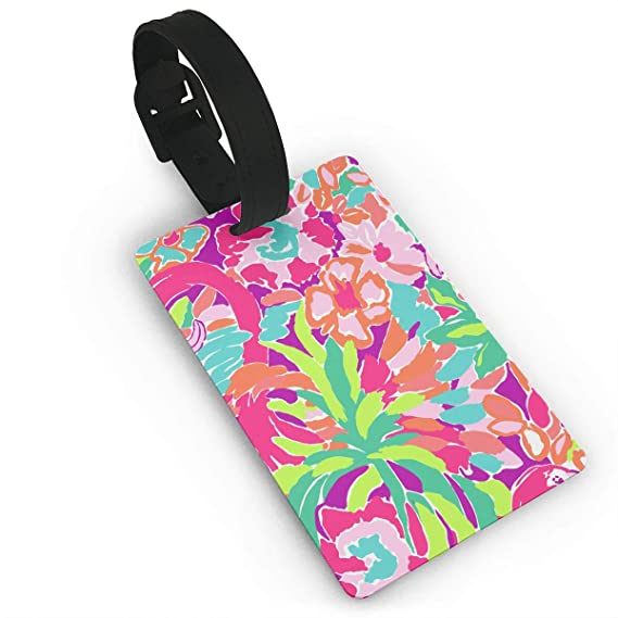 Set of 2 Floral pattern abstract orange teal and gray Luggage Tags Suitcase Labels Bag Travel Accessories