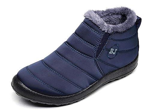 Mujer Botas de Nieve Hombre Zapatos Invierno Impermeables Piel Forradas Calientes Planas Antideslizante Botines: Amazon.es: Zapatos y complementos