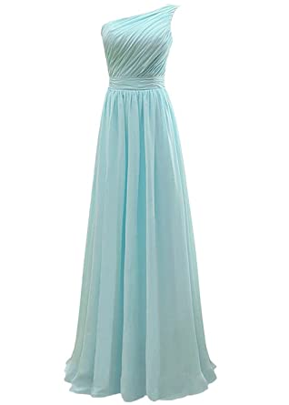 8149f3f9a6d Lorderqueen Women s One Shoulder Long Bridesmaid Dresses Prom Evening Gown  Size 2 Baby Blue