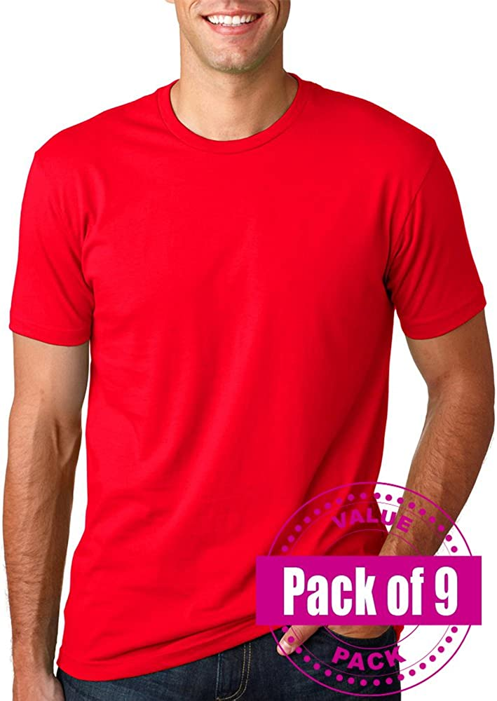 9 Pack Next Level Mens Premium Fitted Short-Sleeve Crew 3600-Red