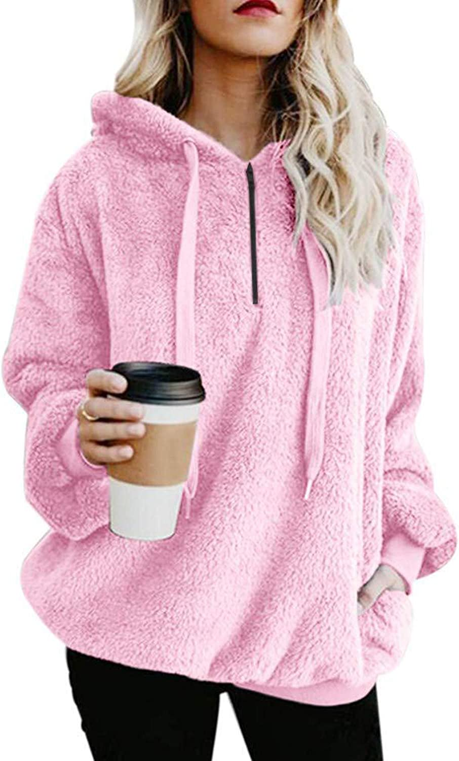 MayBest Women's Oversized Sherpa Pullover Hoodie with Pockets 1/4 Zip Sweatshirt Pink US XXX-Large