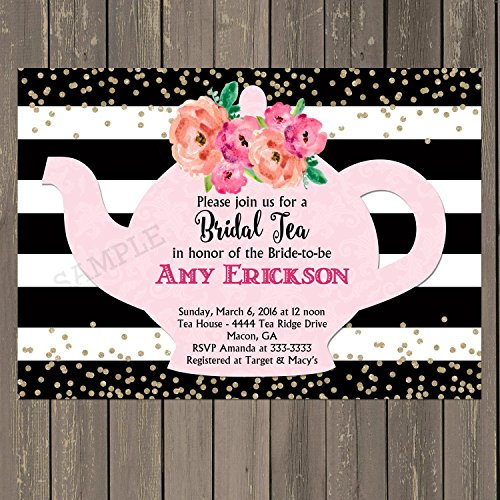 Bridal Shower Tea Party Invitation with Black and White Stripes and Watercolor Flowers, Set of 10 invitations with white envelopes