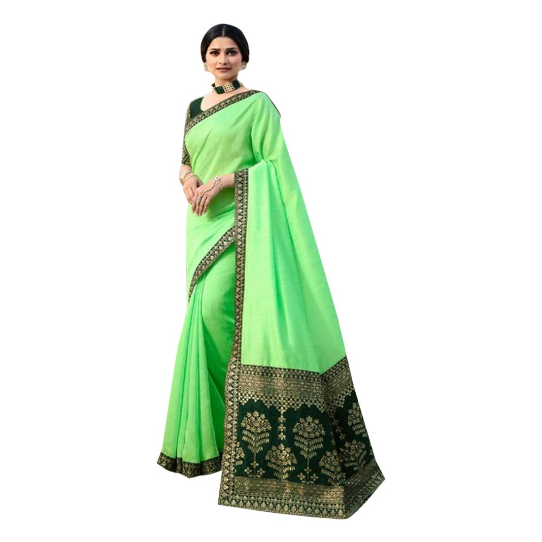 Indian Ethnic Designer Silk with Embroidery Solid Saree Blouse piece Women Sari Party Evening wear 7814