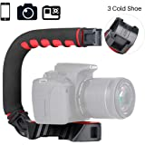ULANZI U-Grip Pro Handheld Video Rig Steadicam with Triple Cold Shoe, Stabilizing Handle Grip Compatible for iPhone 11…