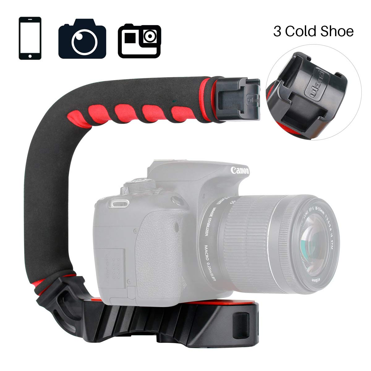 ULANZI U-Grip Pro Handheld Video Rig Steadicam with Triple Cold Shoe, Stabilizing Handle Grip Compatible for iPhone Xs 8 7plus GoPro 7 6 5 Canon NikonSony DSLR Cameras