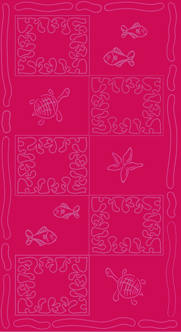 XXL velour Turtles beach towel in 100% cotton 380g/m2 - 100x200cm (Coral) JMA