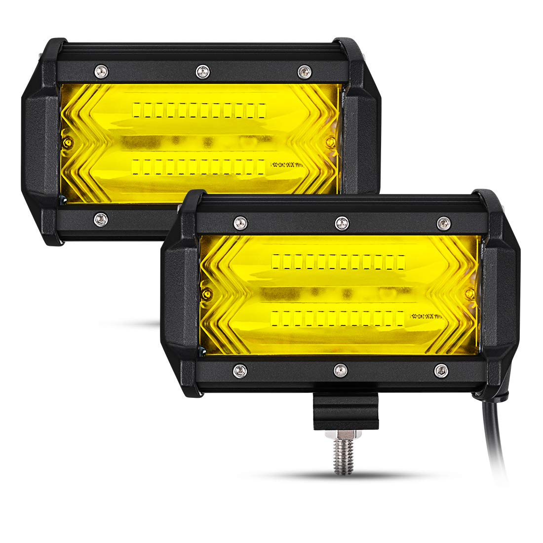 Ansite LED Work Light Bar 2Pcs 4 36W Amber Spot Beam Osram Chips Driving Fog Light Waterproof for Off-road Car ATV SUV Jeep Boat