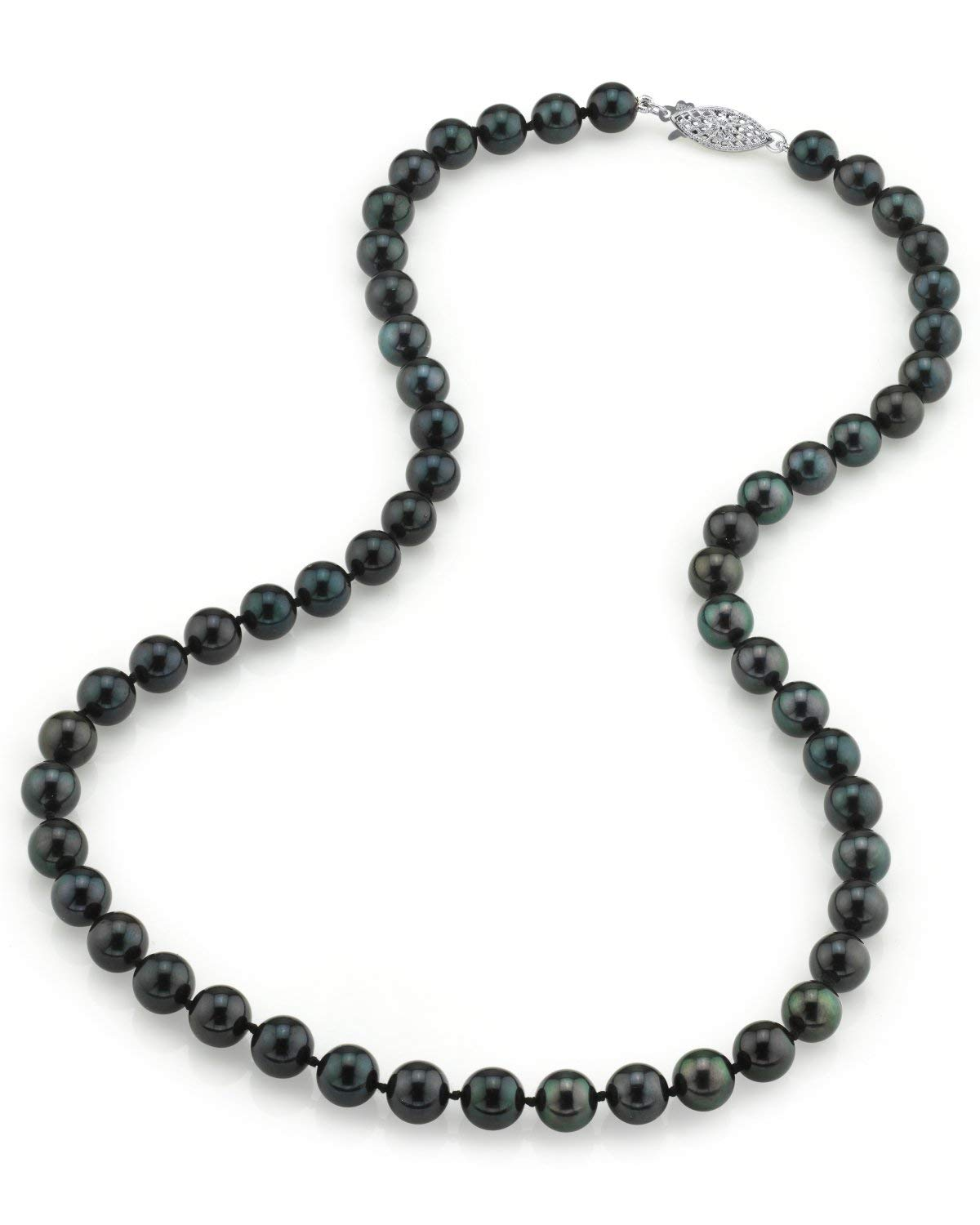 THE PEARL SOURCE 14K Gold 7.0-7.5mm Round Genuine Black Japanese Akoya Saltwater Cultured Pearl Necklace in 18'' Princess Length for Women by The Pearl Source