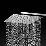 BESy 12 Inch Rain Shower Head, 12'' Square Rainfall & High Pressure Stainless Steel Bath Shower Head, 1/16'' Ultra Thin, Waterfall Full Body Coverage with Silicone Nozzle, Non Fingerprint Brushed Finish