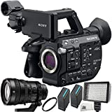 Sony PXW-FS5 XDCAM Super 35 Camera System + Sony FE PZ 28-135mm f/4 G OSS Lens 5PC Accessory Bundle Includes 2 Replacement BPU90 Batteries + 160 LED Video Light + UV Filter + Microfiber Cleaning Cloth