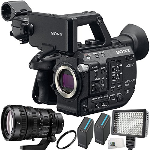 Sony PXW-FS5 XDCAM Super 35 Camera System + Sony FE PZ 28-135mm f/4 G OSS Lens 5PC Accessory Bundle Includes 2 Replacement BPU90 Batteries + 160 LED Video Light + UV Filter + Microfiber Cleaning Cloth by SSE