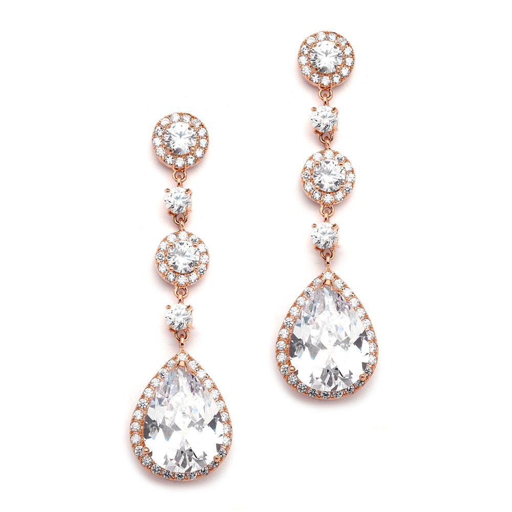 Mariell Cubic Zirconia 14K Rose Gold Pear-Shaped Teardrop Dangle Earrings - Brides, Weddings and Formals by Mariell
