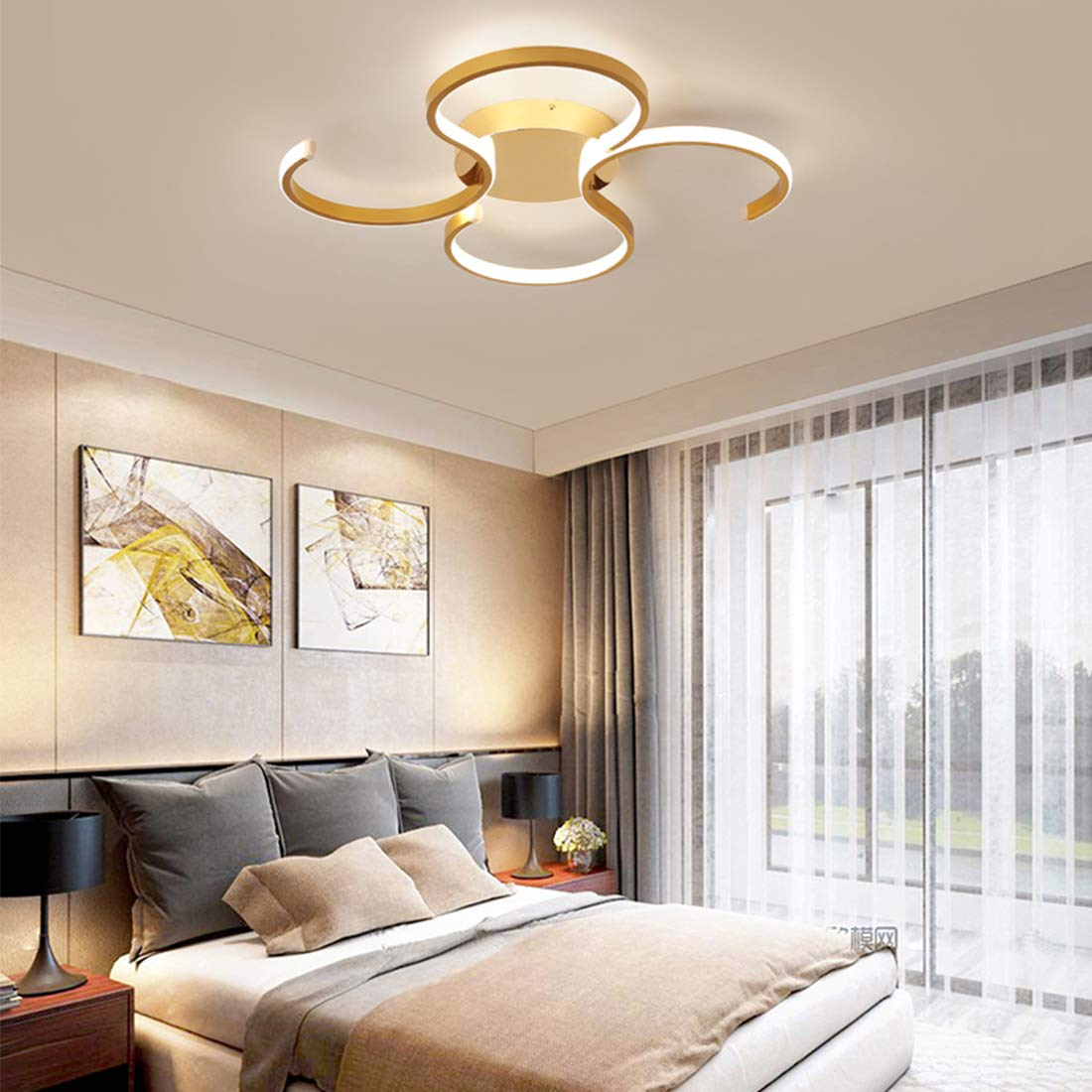 Plafonnier LED Plafonnier 50cm 38W Dimmable avec t/él/écommande Lampe de salon Rron Lustre Lampe de chambre denfant Lampe de salle /à manger Lampe de chambre Lampe de salle hall Lampe de salle de bain