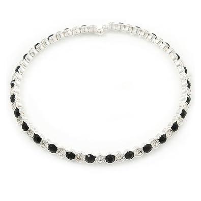 Avalaya Silver Plated Clear/Black Austrian Flex Choker Necklace u1DuX9xsF