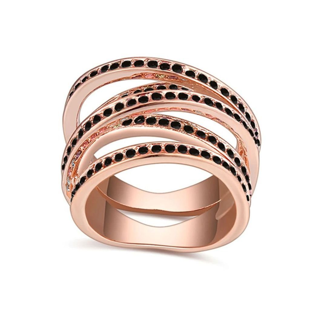 Womens Wedding Bands Hollow Lines Crystal Inlaid Hollow Lines Ring Epinki Gold Plated Ring