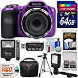 Minolta MN35Z 1080p 35x Zoom Wi-Fi Digital Camera (Purple) 64GB Card + Case + Flash + Video Light + Tripod + Kit