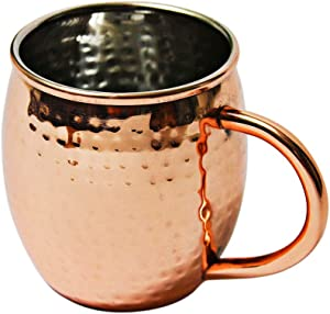 16 ounce Hammered Copper Plated Stainless Steel Mug for Moscow Mules by Alchemade