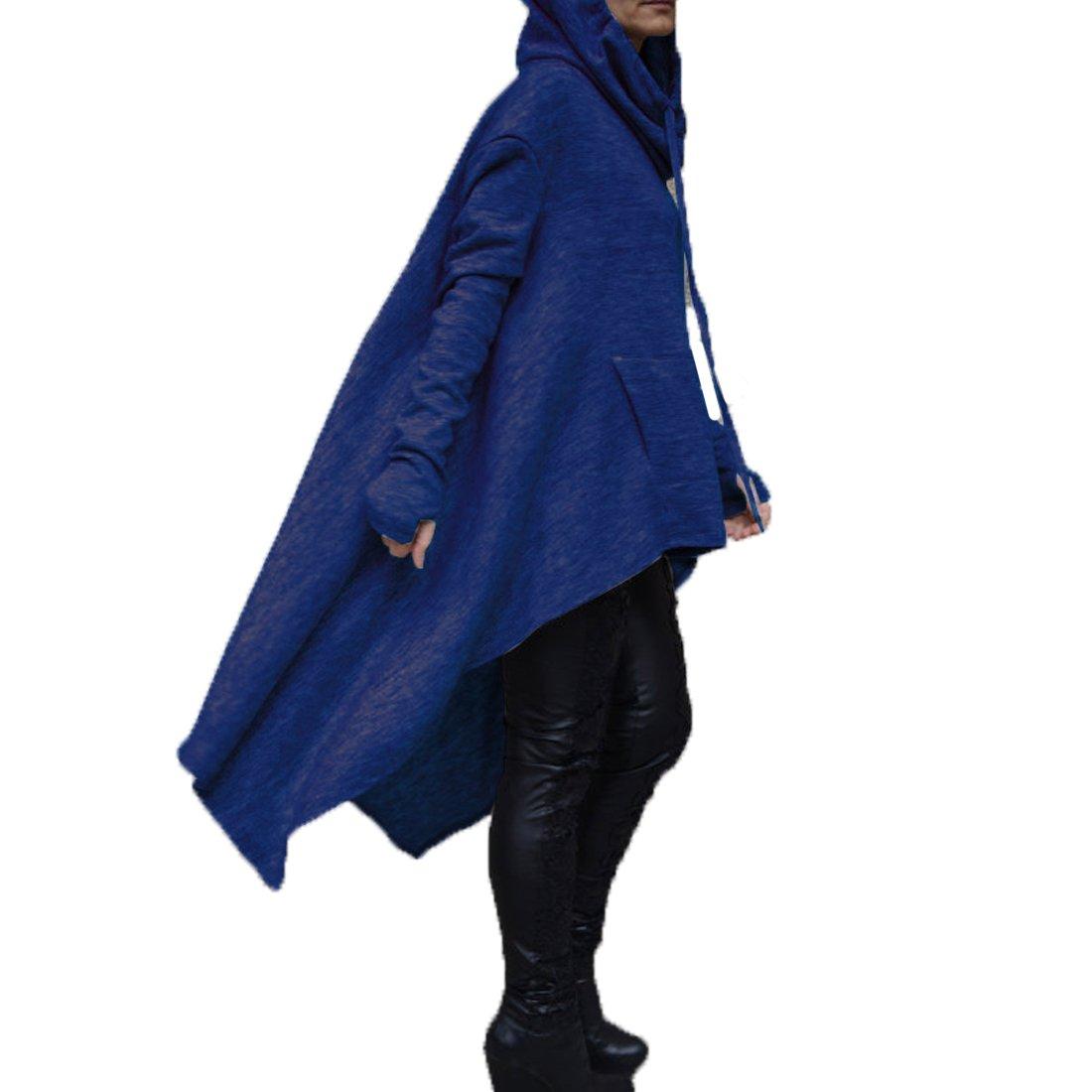 FCYOSO Womens Irregular Hem Hi-lo Double Slit Loose Long Sleeve Hooded Dress