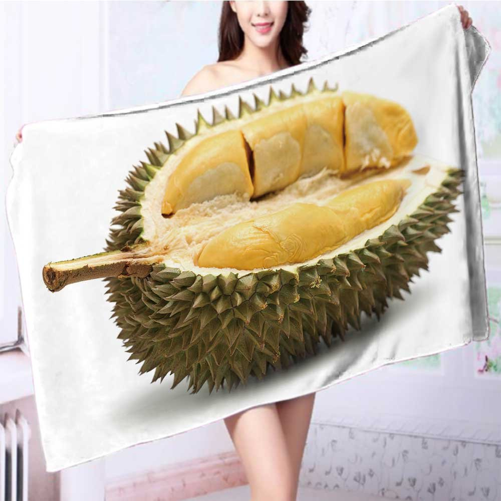 SOCOMIMI Quick dry bath towelclose up of peeled durian isolated on white background Absorbent Ideal for everyday use L39.4 x W19.7 INCH by SOCOMIMI