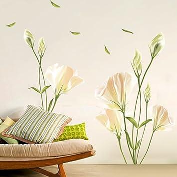 Alicemall Wandaufkleber Hochwertig PVC Wandtattoo Blumen Sticker  Kinderzimmer Wohnzimmer Sofa Hintergrund