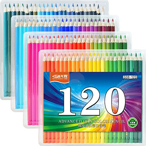 FIVE STAR 120-Colored Pencils Set For Sketch Coloring Pages And Books 120-color Art Drawing Colored Pencils Set for Artist Sketching Drawing Writing Coloring / Adult Coloring Books/ Secret Garden]()
