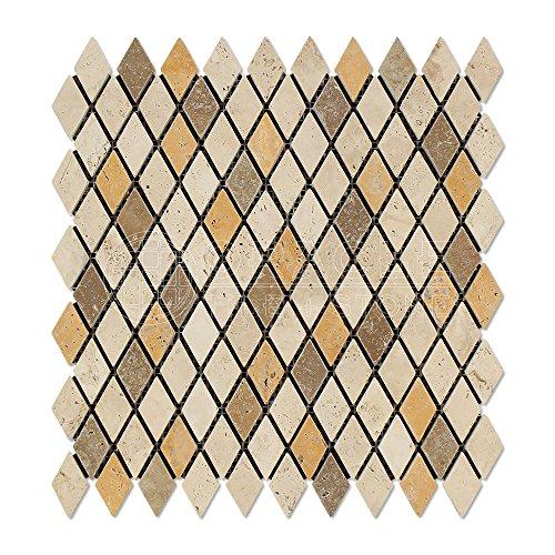 Mixed 1-inch Travertine Diamond / Rhomboid Tumbled Mosaic Tiles