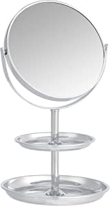 AmazonBasics Vanity Mirror with Dual Trays - 1X/5X Magnification, Chrome