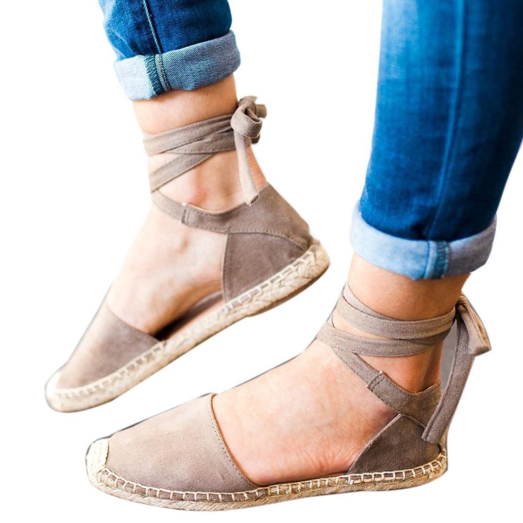 Igemy Lace-up Espadrilles fuuml;r Damen Strap Walking Sandalen Casual Shopping Schuhe  36 EU|Grau