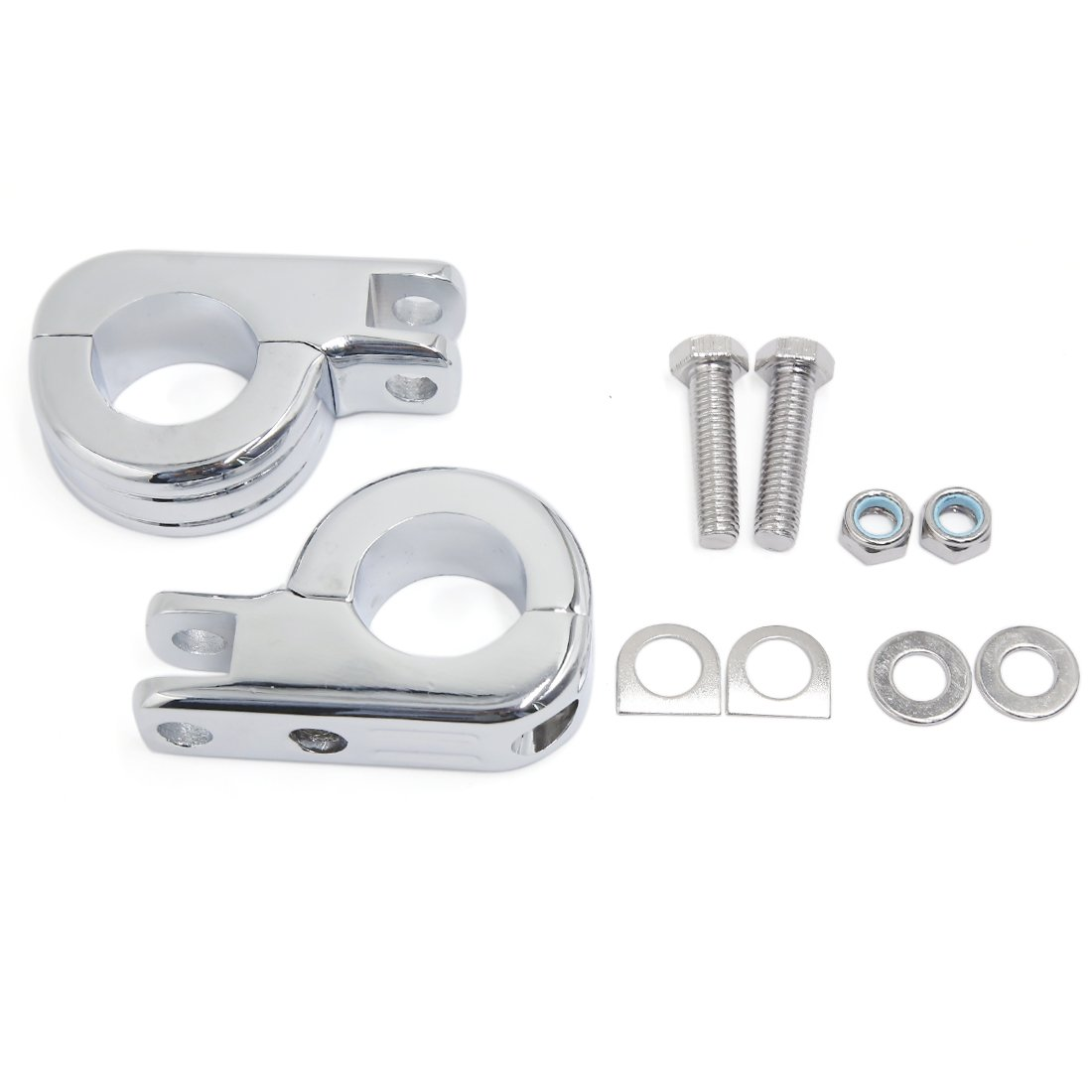 uxcell 1.25'' 1 1/4'' Chrome Highway Offset P Clamp Footpegs Mount Kit For Harley Davidson Engine Guard Bar Universal
