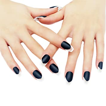 Jindin 24 Sheet Black Matte Fake Nails With Glue Coffin Shape Designs Press On Nails Acrylic False Nail Tips Full Cover For Women