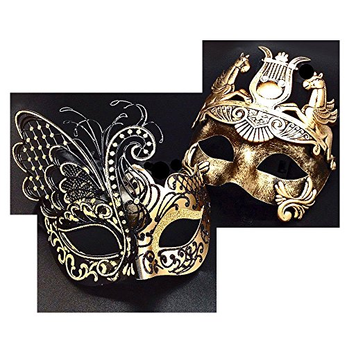 Gold Men Mask and Gold Black Women Mask Couple Venetian Masquerade (Venetian Pirate Mask)
