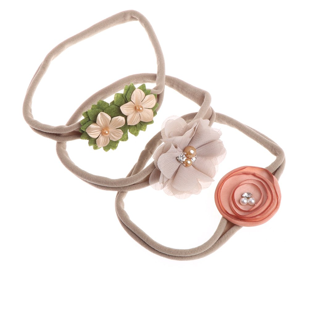 Manyo 3 Stück Niedliches Elastisches Stirnband für Baby - Neugeborenes Turban Haarband - Baby Foto Requisiten, Bandumfang 28cm, Nylon + Stoff, 8 Farbe zu wählen. (Beige)