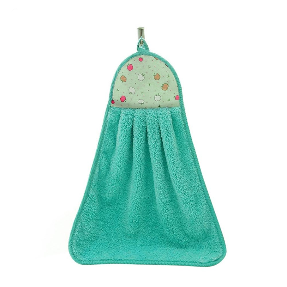 Kitchen Bathroom Hanging Hand Towel Lovely Dish Washcloths Hand Dry Towel with Hanging Loop (Green)