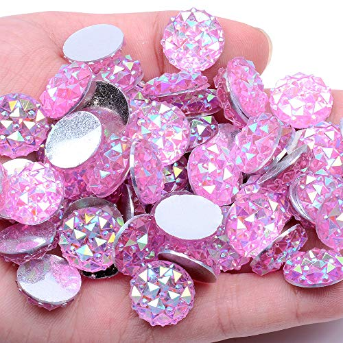 14mm 40 and 100pcs Round Glue on Flatback Resin Rhinestones Shining Without Hole Non Hotfix Stones DIY Crafts Bags Clothes Embellishment (04 Light Pink AB, 14mm Approx 100pcs)