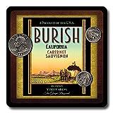 Burish Family Vineyards Neoprene Rubber Wine Coasters - 4 Pack