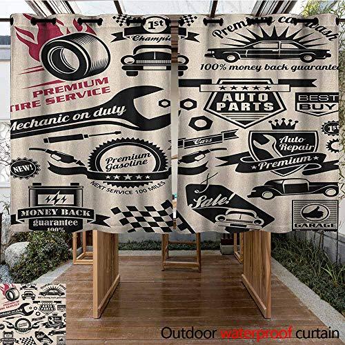 AndyTours Grommet Outdoor Curtains,Retro,Car Repair Shop Logos Monochrome Car Silhouettes Best Garage in Town,Darkening Thermal Insulated Blackout,K140C160 Beige Dark Coral Black