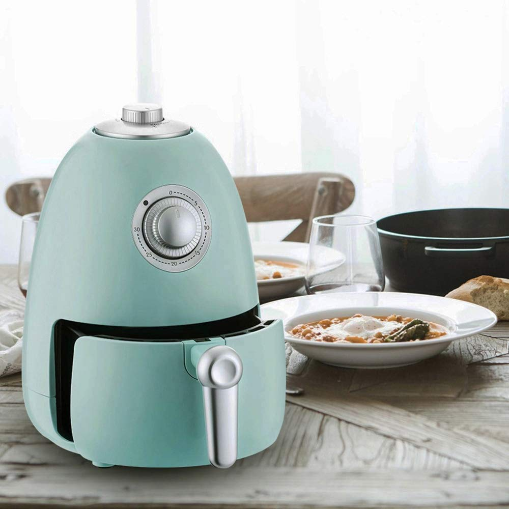 Air Fryer 2.2QT with Cookbook, Compact Electric Air Fryer Oven Cooker with Temperature Control, Non Stick Fry Basket Auto Shut off Function Blue