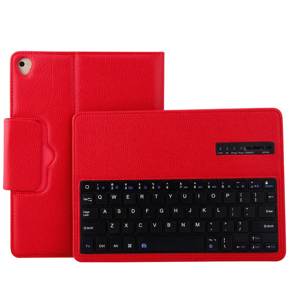 Sonmer Ultra-Thin Wireless Bluetooth Keyboard For iPad Mini5 7.9inch, With Detachable Leather Case Cover (Red)