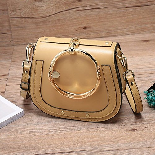yellow bags leather Single saddle retro Ladies rings Shoulder fashion GMYAN Satchel FPAwc