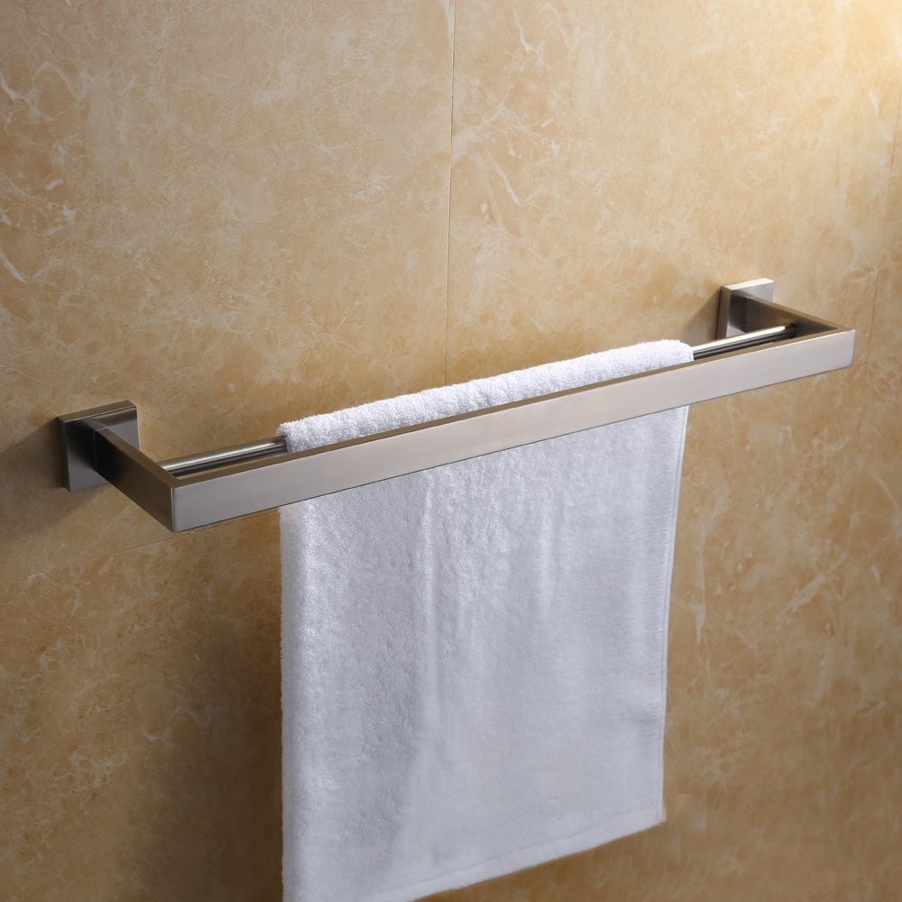 KES 24-Inch Double Towel Bar Modern Square Bathroom Shower ...