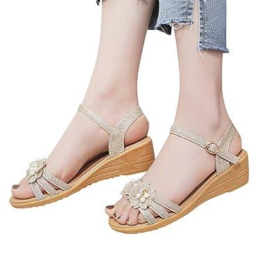 Sharemen Summer Womens Shoes Fashion Belt Buckle Sandals Wedges Roman Ladies Sandals