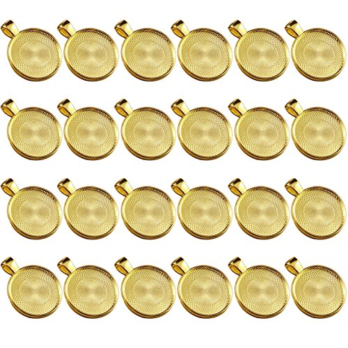 Dcatcher 24 PCS Bezel Pendant Trays Round Cabochon Settings Trays Pendant Blanks, 25mm Diameter, - Gold Plain Bezel