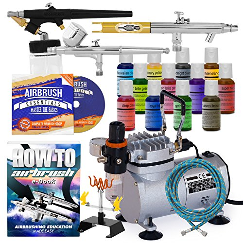 PointZero Cake Airbrush Decorating Kit - 3 Airbrushes, Compressor, and 12 Chefmaster Colors by PointZero Airbrush