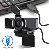 LarmTek 1080P webcam met microfoon en databescherming, webcamera USB camera, computer HD streaming webcam voor PC desktop & laptop met microfoon