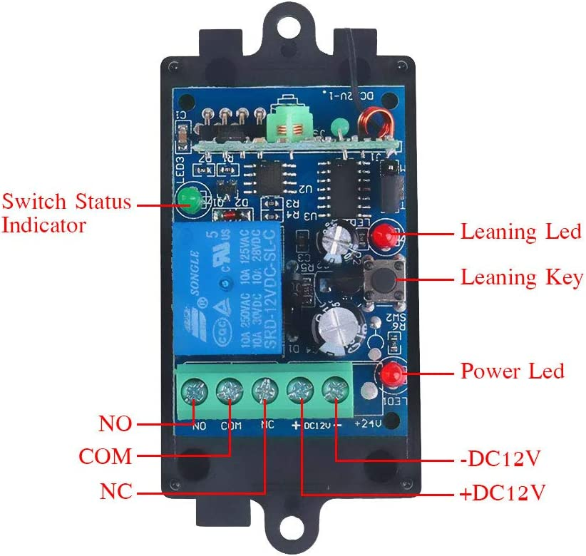 Receiver ! DC 12v 10A relay 1CH Wireless RF Remote Control Switch Transmitter