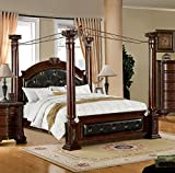 Furniture of America Majestin Poster Canopy Bed, Eastern King