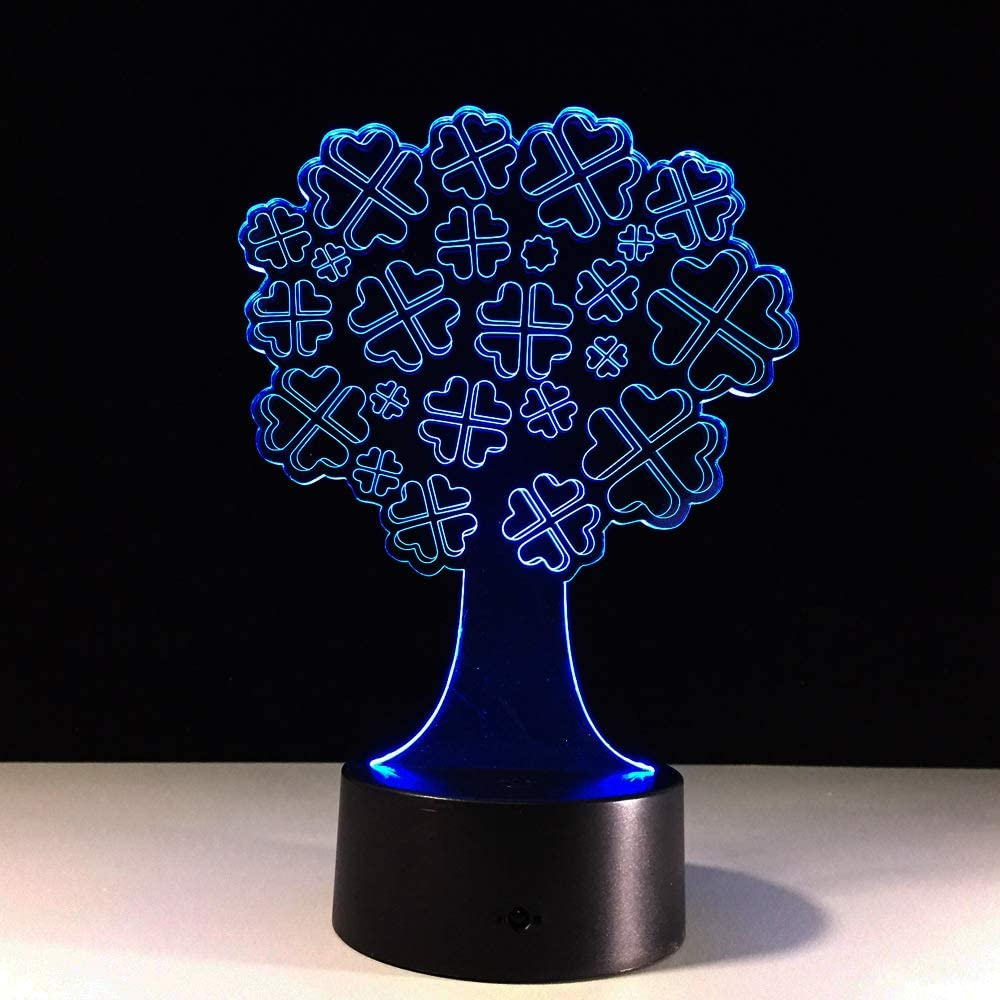 3D Lámpara Forma del árbol de la suerte Illusions Luz Nocturna gradiente de 7 colores Luces decorativas Lámpara de mesa Luz del sueño 3D Night Light Regalos de cumpleaños para niños