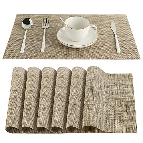 Vivi&Stitch Wipeable Placemats, 6 Pack Table Placemats, Easy to Clean Heat-Resistant Stain Resistant Anti-Skid Woven Vinyl PVC Table Mats for Kitchen Dining Table(Linen)